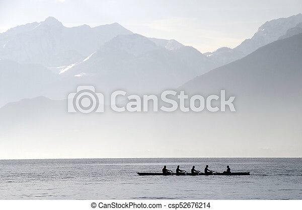 Rowers on row boat, Annecy lake, france - csp52676214