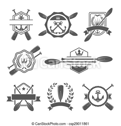 Rowing Logo And Paddle Badges