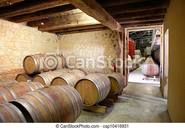 Rows of barrels in a cellar - csp10416931