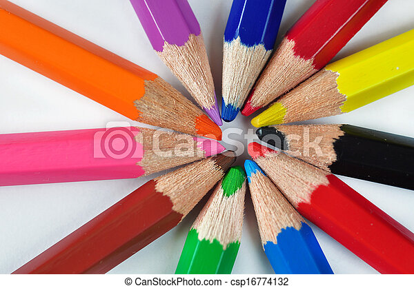 Rows of pencils isolated on white - csp16774132
