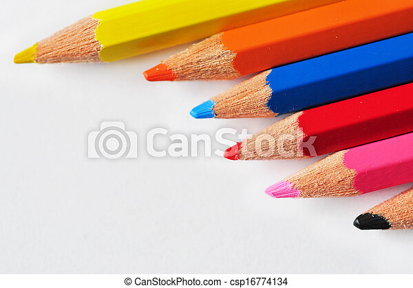 Rows of pencils isolated on white - csp16774134