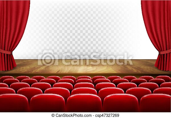 Rows Of Red Cinema Or Theater Seats In Front Transparent Background Vector