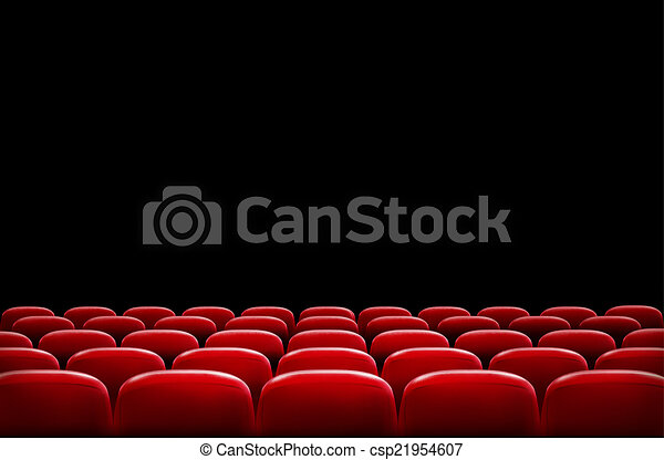 Rows of red cinema or theater seats in front of black screen wit - csp21954607
