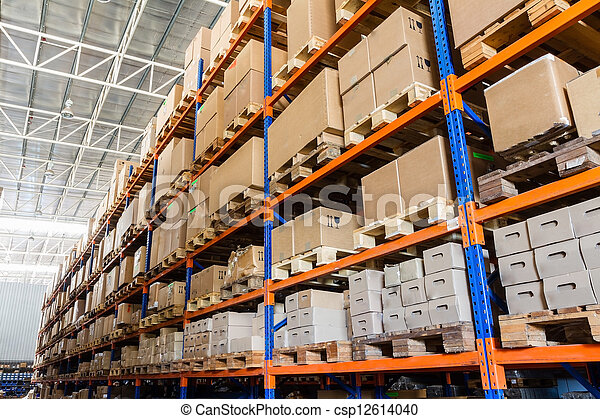 Rows of shelves with boxes in modern warehouse - csp12614040