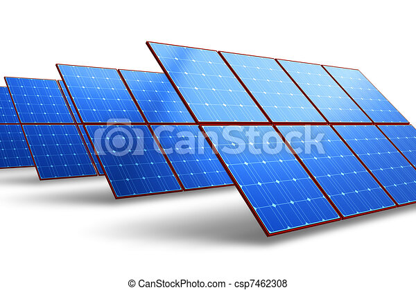 Rows of solar battery panels - csp7462308