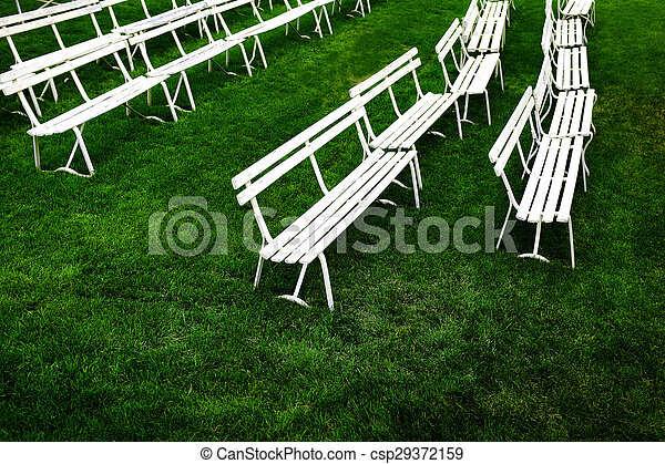 Miraculous Rows Of White Park Benches For Sitting On Green Grass Alphanode Cool Chair Designs And Ideas Alphanodeonline