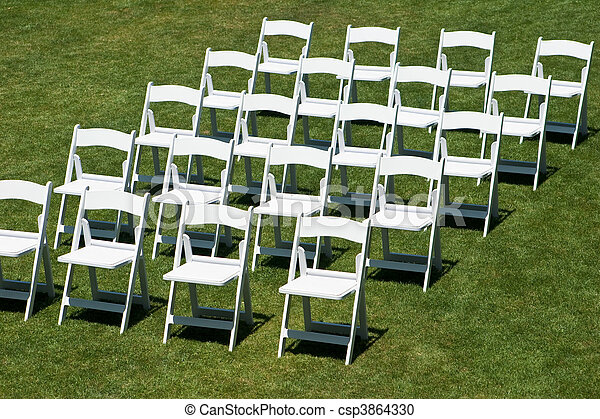 Rows of white wedding chairs horizontal - csp3864330 & Rows of white wedding chairs horizontal. Rows of white empty chairs ...