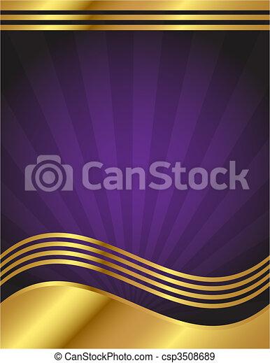 roxo, elegante, ouro, fundo - csp3508689