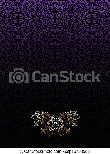 roxo escuro, vindima, alto, luxo, fundo, ornate - csp16703588