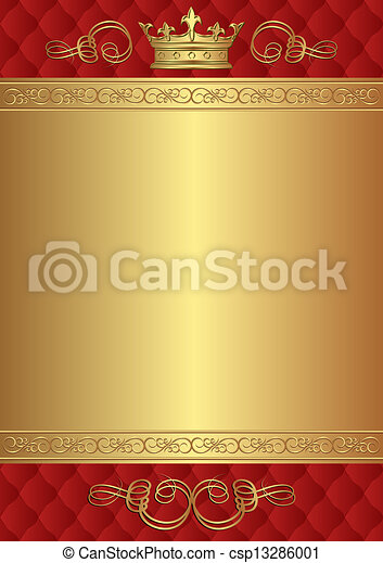 Royal Background Red And Gold With Crown
