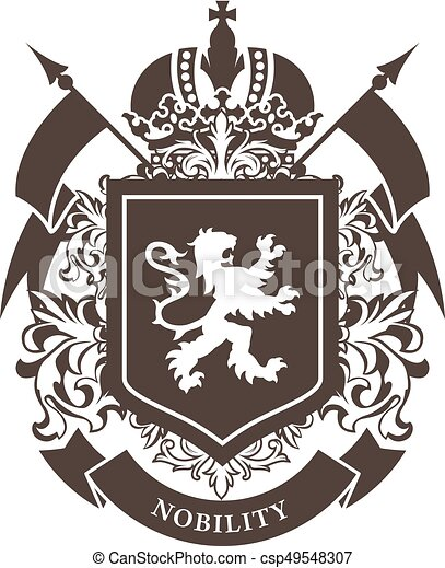 Royal blazon - luxurious coat of arms with lion on shield and crown - csp49548307