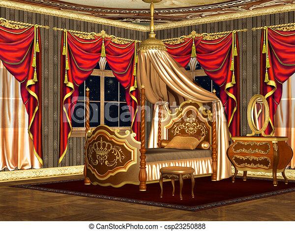 Intérieur, suite, baroque, royal, chambre à coucher illustration ...