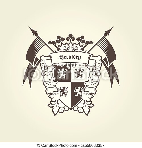 Royal coat of arms - heraldic blazon, emblem with shield lions - csp58683357