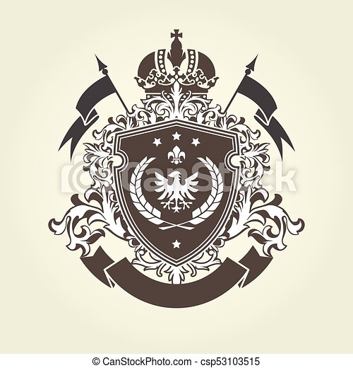 Royal coat of arms - heraldic blazon with crown and shield with eagle - csp53103515