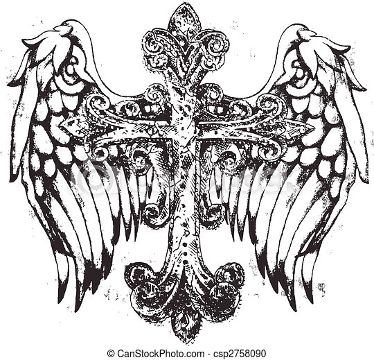 royal cross symbol with wing - csp2758090