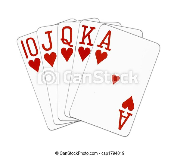 Royal Flush hearts - csp1794019