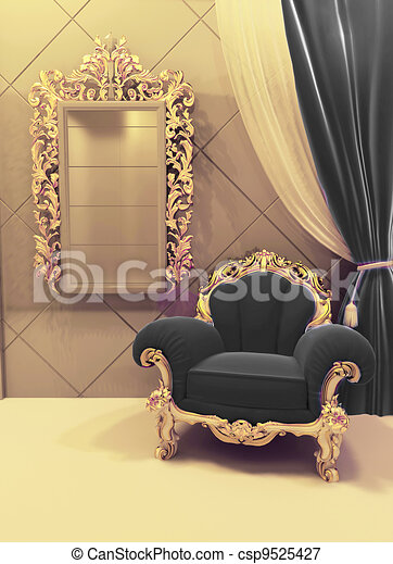 Royal Furniture In A Luxurious Interior Black Upholstery And Golden