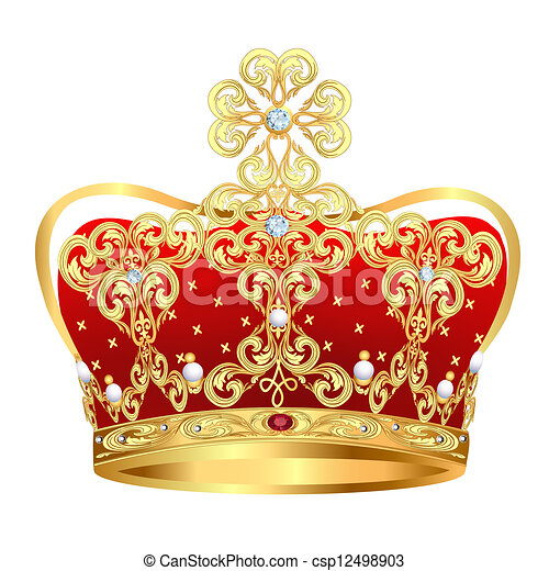 royal gold crown with jewels and ornament - csp12498903