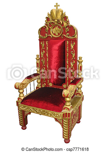 Royal king red and golden throne chair isolated - csp7771618