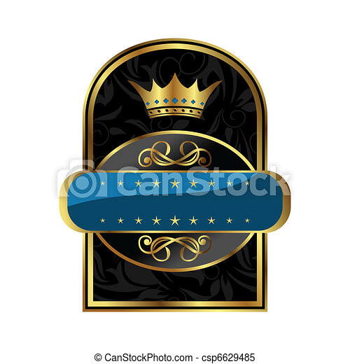 royal label with crown for packing alcohol - csp6629485