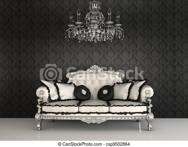 Royal sofa with pillows and chandelier in luxurious interior with ornament wallpapers - csp9502864