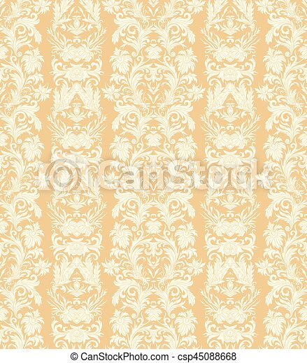 Royal Striped Seamless Pattern Rococo Floral Wallpaper Damask Background