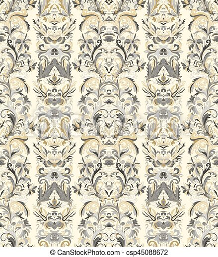 Royal Striped Seamless Pattern Rococo Floral Wallpaper Damask Background Gold On Black
