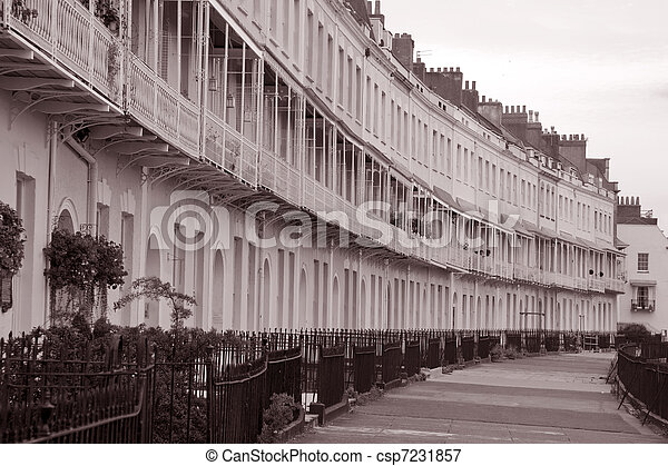 Royal york crescent in black and white sepia tone clifton bristol england