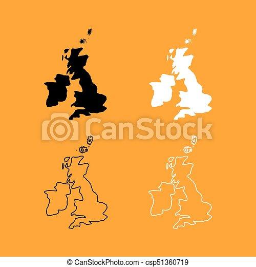 Carte Royaume Uni Noir Et Blanc.Royaume Carte Uni Ensemble Noir Blanc Icone