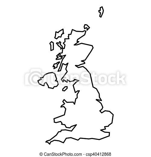 Carte Royaume Uni Noir Et Blanc.Royaume Carte Uni Noir Contour