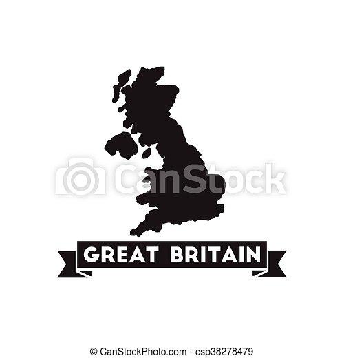 Carte Royaume Uni Noir Et Blanc.Royaume Plat Uni Carte Noir Blanc Icone