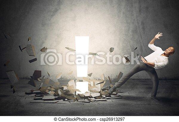 rozłączenie, zdziwiony, człowiek - csp26913297