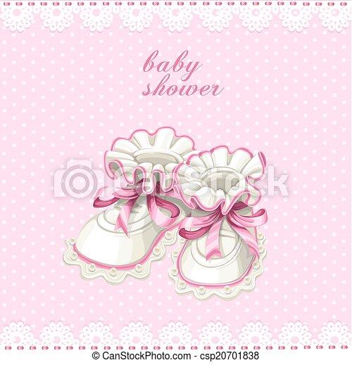 roze, baby buit, kaart, douche - csp20701838