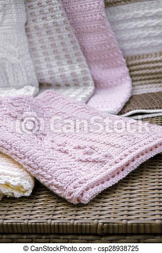 Baby Deken Breien.Roze Baby Deken Closeup Haken