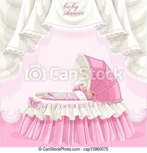 roze, baby stortbad, kaart - csp13960075