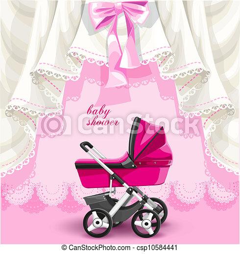 roze, baby stortbad, kaart - csp10584441