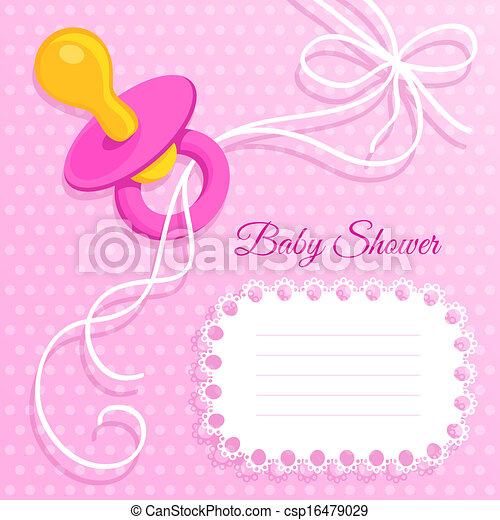 roze, baby stortbad, kaart - csp16479029