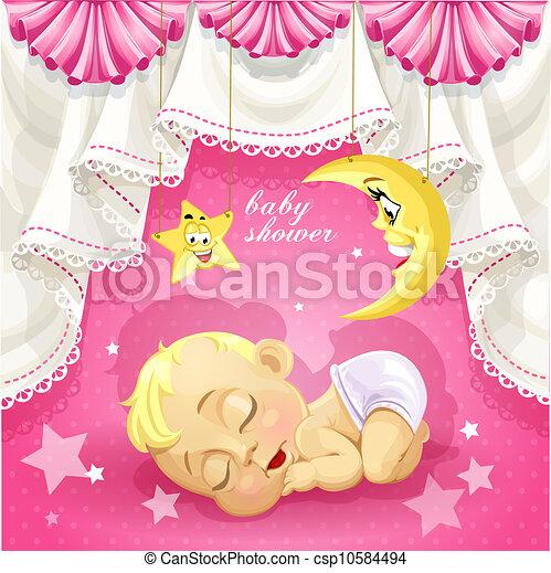 roze, baby stortbad, kaart - csp10584494