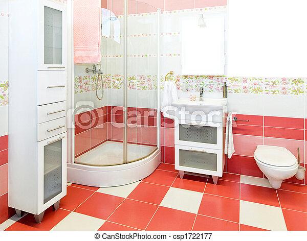 Roze, badkamer, kleur, meiden, interieur beeld - Zoek naar Foto ...