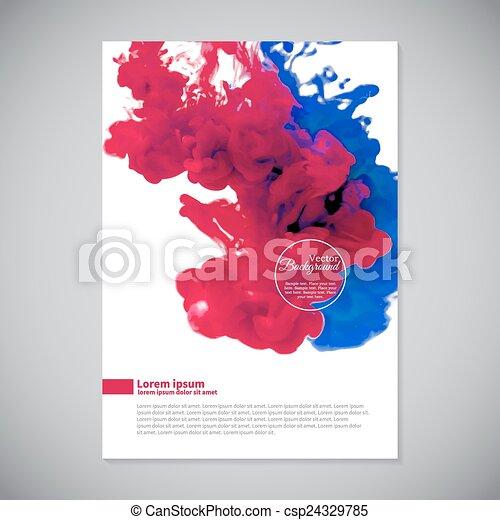 roze, blauwe , zakelijk, water, mal, inkt - csp24329785