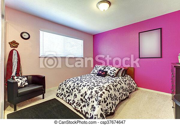 Roze, carpet., muur, eenvoudig, helder, tiener, slaapkamer ...