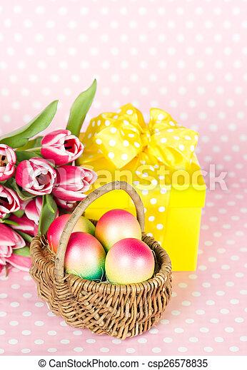 Roze Doosje Tulpen Cadeau Eitjes Pasen