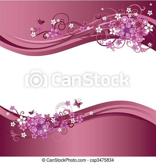 roze, floral, randjes, twee - csp3475834
