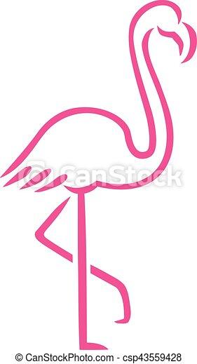 Roze, getrokken, flamingo, lijnen vector illustratie ...