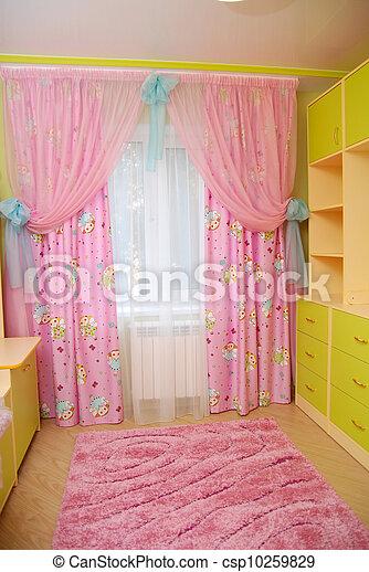 Roze gordijnen, babykamer. Roze gordijnen, nursery.
