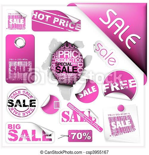 roze, kaartjes, etiketten, set, verkoop - csp3955167