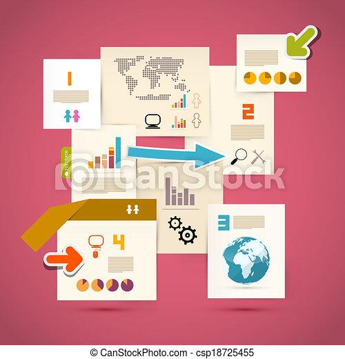 Roze, mal, papier, vector, achtergrond, infographics clipart vector ...