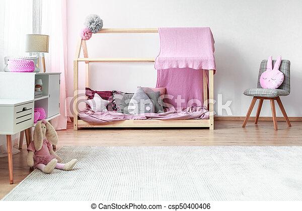 Slaapkamer Grijs Roze : Roze meiden grijze slaapkamer roze speelbal deken meiden