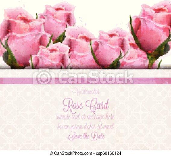 roze, mooi, card., trouwfeest, achtergronden, of, watercolor, rozen, vector, uitnodiging, datum, sparen, template. - csp60166124