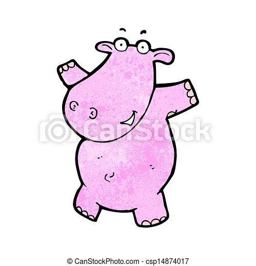 roze, nijlpaard, spotprent - csp14874017